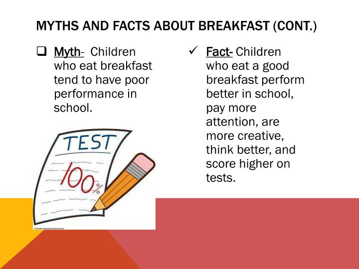 Myths and facts about breakfast (cont.)