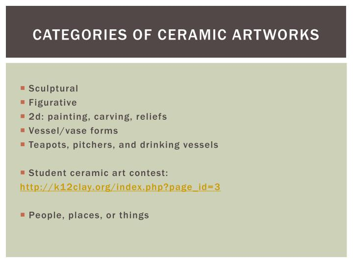 Categories of ceramic artworks