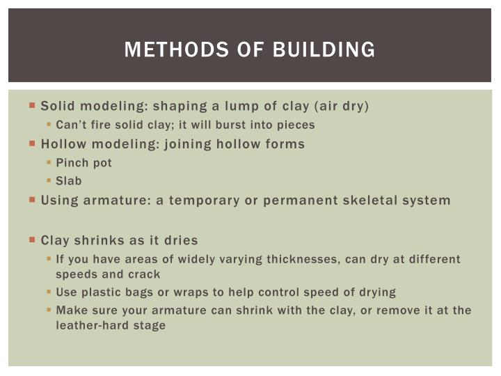 Methods of building
