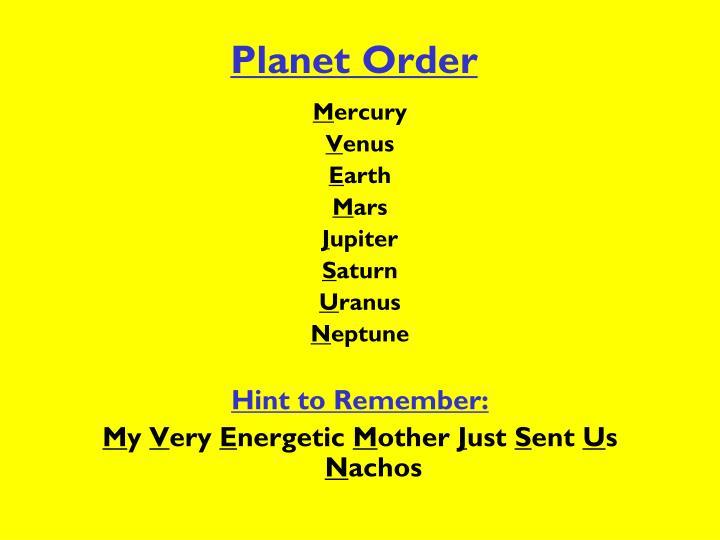 Planet Order