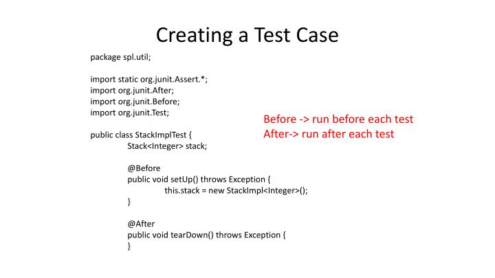 Creating a Test Case