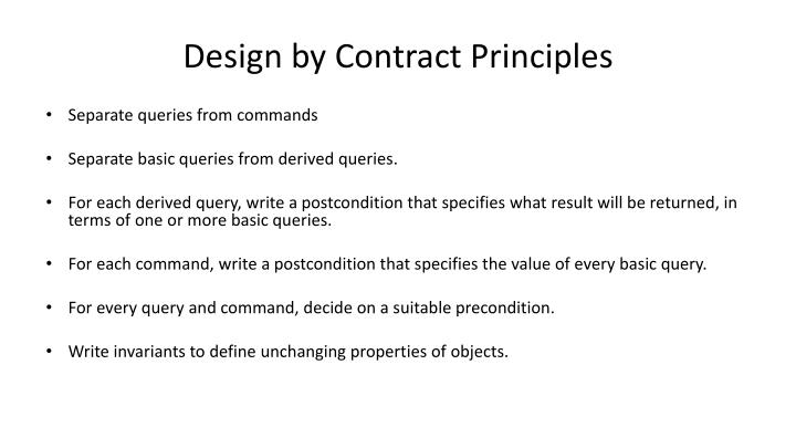 Design by Contract Principles