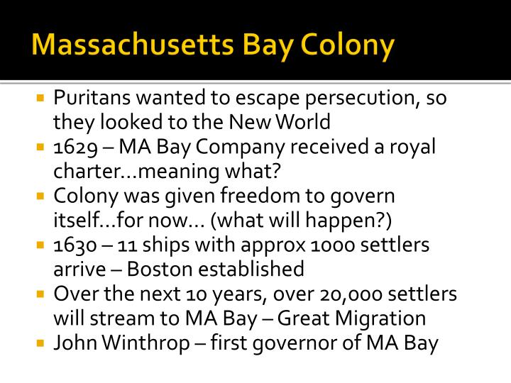 chesapeake bay vs massachusetts bay colonies The hope was that they would find gold in the chesapeake region like the  the  massachusetts bay colony was chartered in 1629 by london.