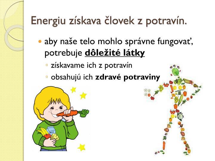 Energiu získava človek z potravín.
