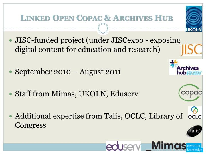 Linked Open Copac & Archives Hub