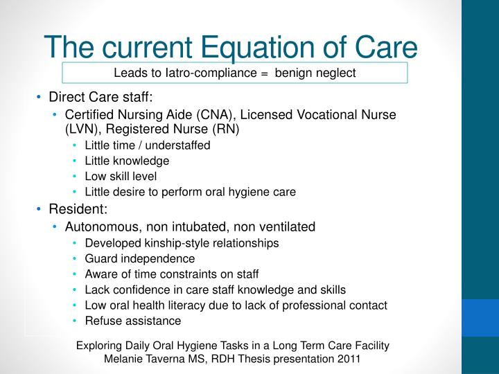 The current Equation of Care