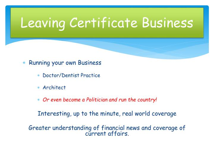 Leaving certificate business2