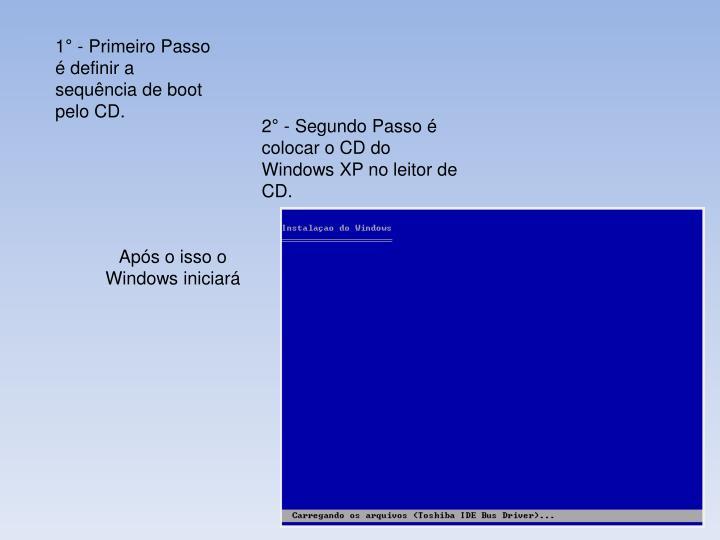 1 - Primeiro Passo  definir a sequncia de boot pelo CD.