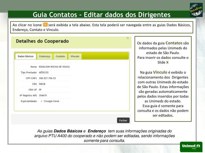Guia Contatos - Editar dados dos Dirigentes