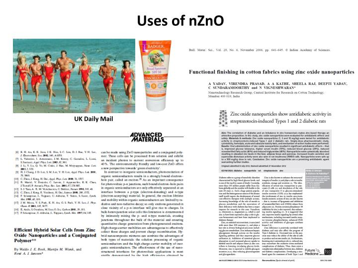 Uses of nZnO