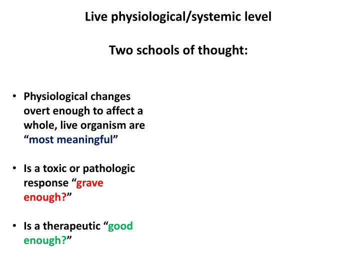 Live physiological/systemic level