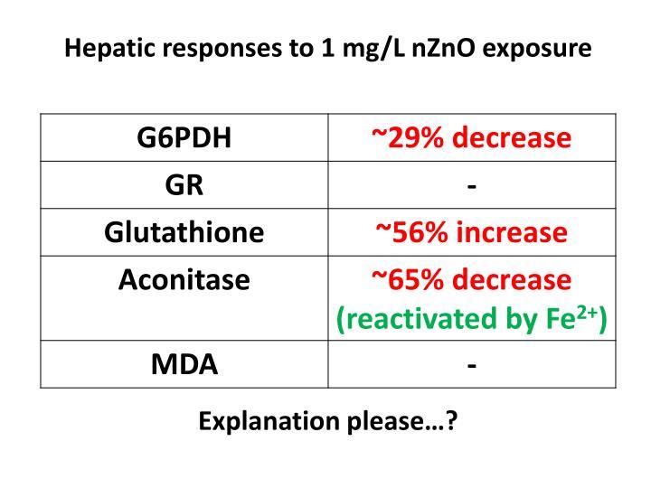 Hepatic responses to 1 mg/L nZnO exposure