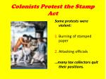 colonists protest the stamp act