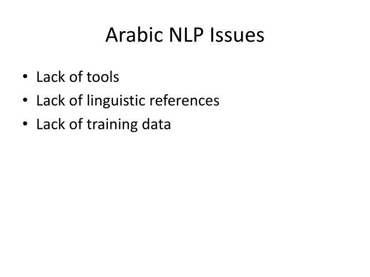 Arabic NLP Issues