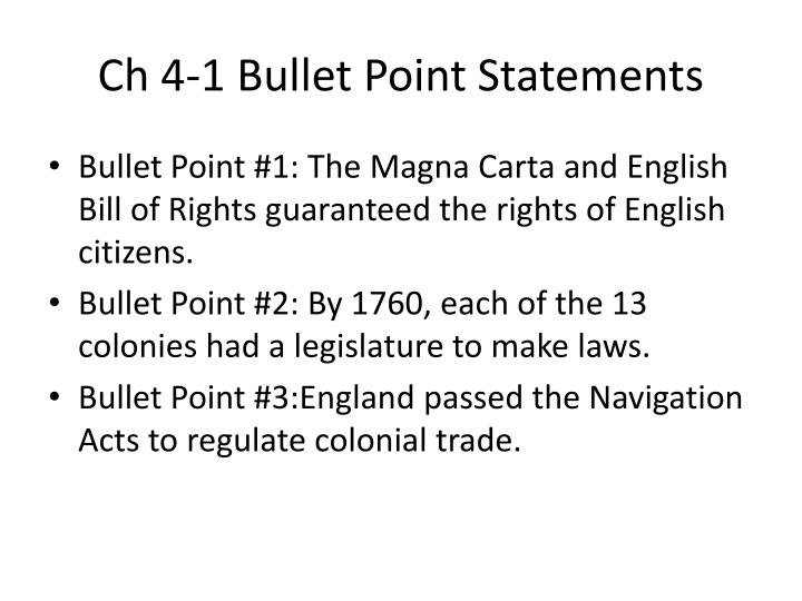 Ch 4 1 bullet point statements
