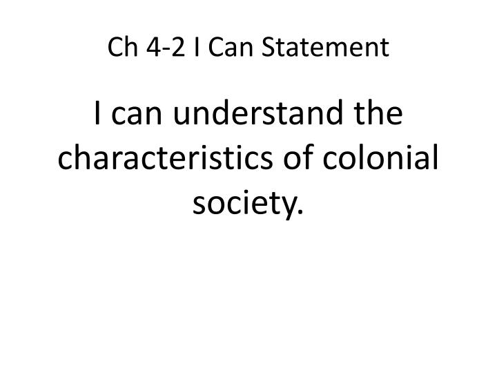 Ch 4-2 I Can Statement