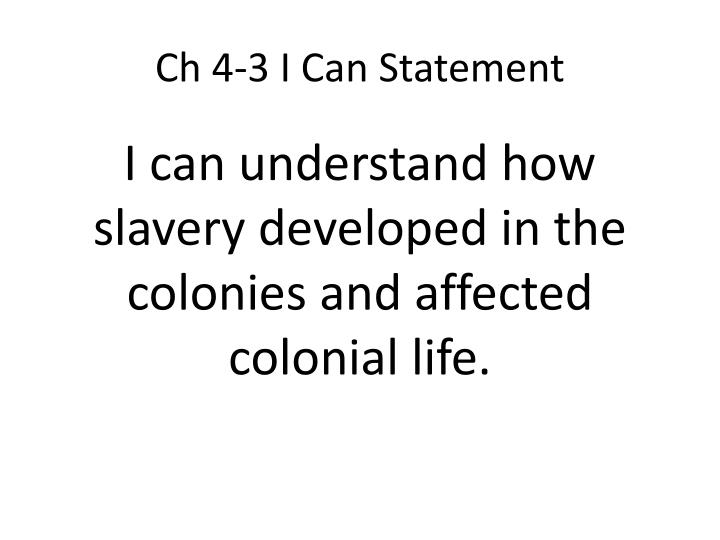 Ch 4-3 I Can Statement