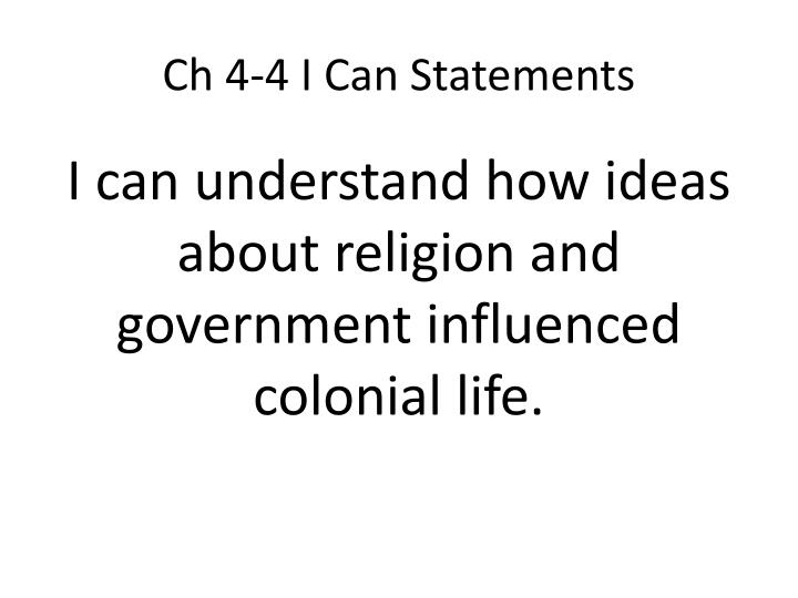 Ch 4-4 I Can Statements