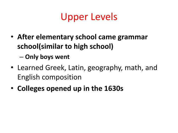 Upper Levels