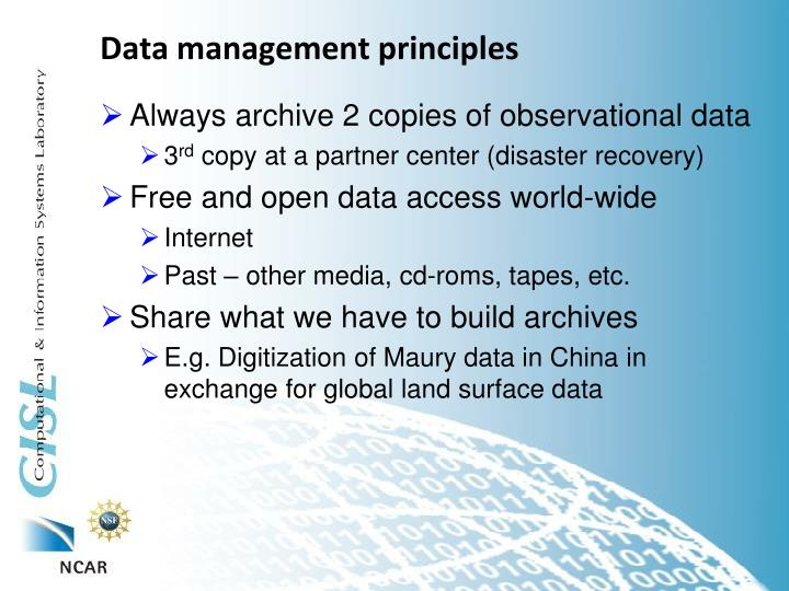 Data management principles