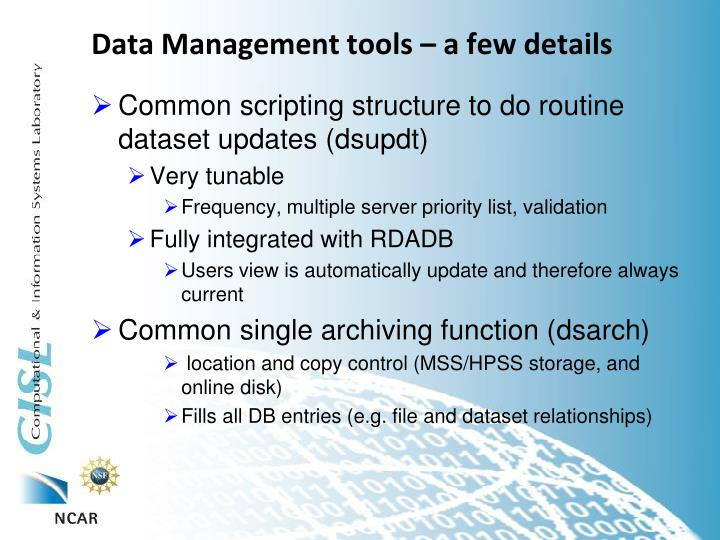 Data Management tools – a few details