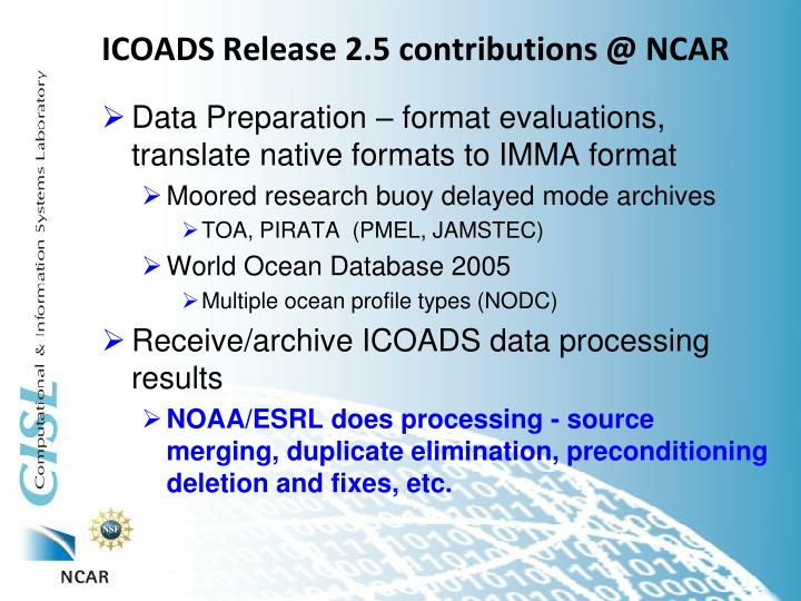 ICOADS Release 2.5 contributions @ NCAR