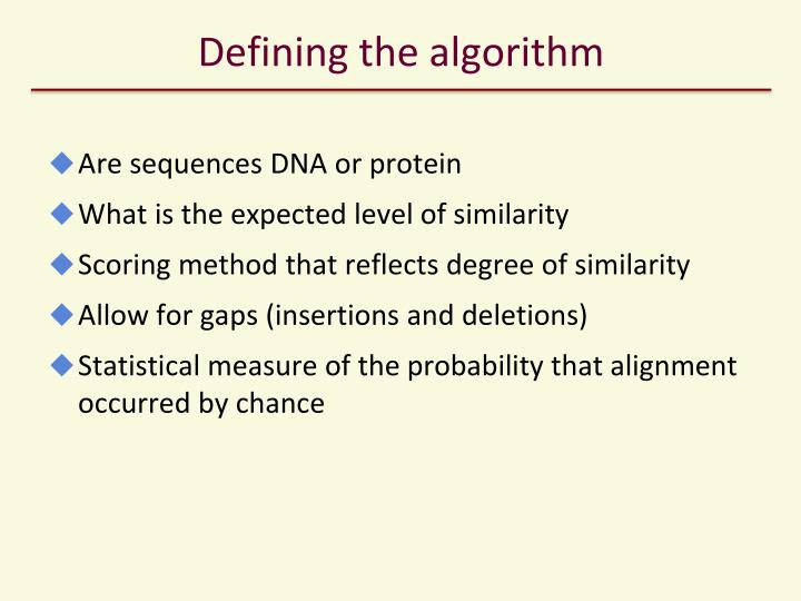 Defining the algorithm