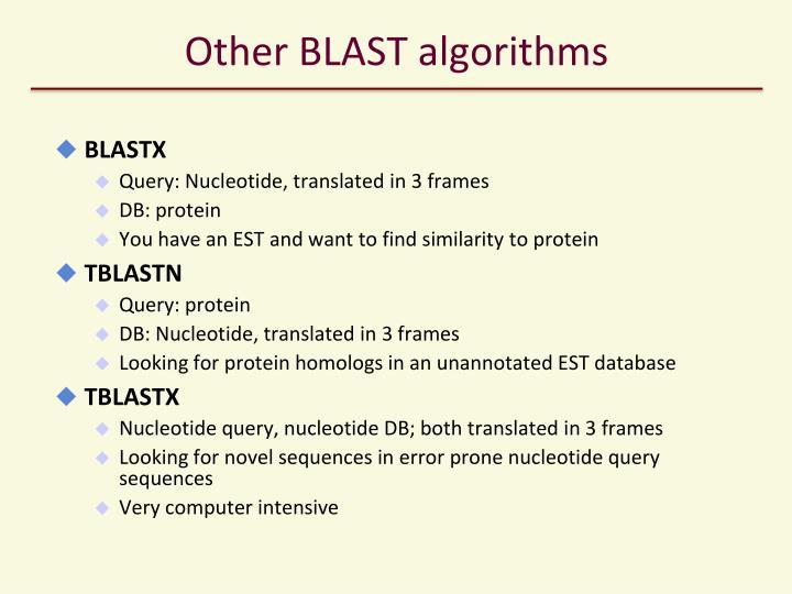 Other BLAST algorithms
