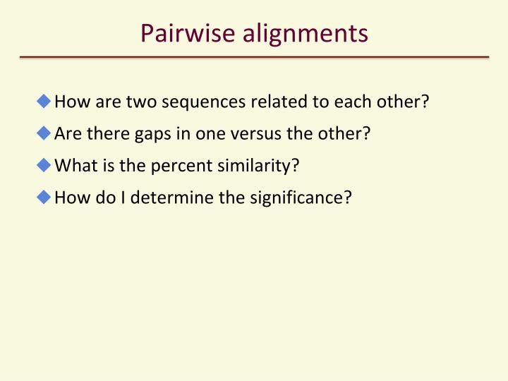 Pairwise alignments