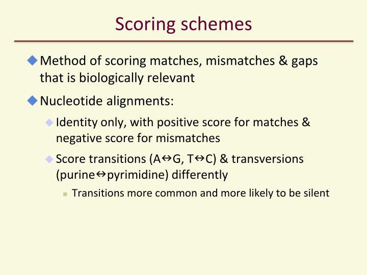 Scoring schemes
