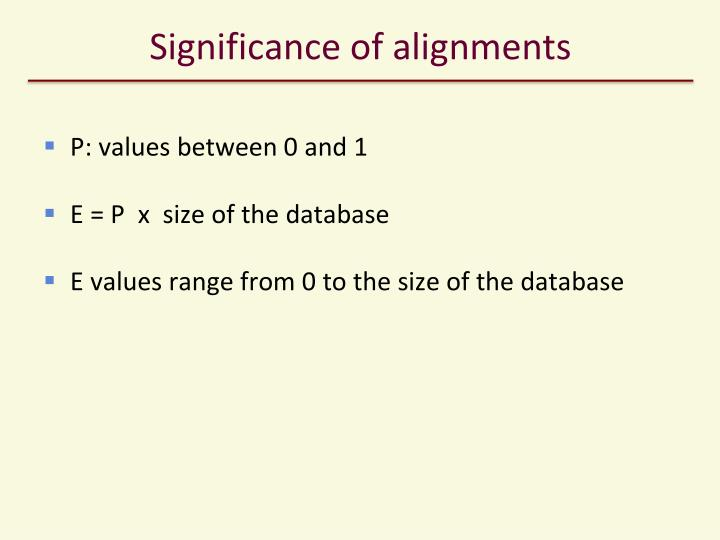 Significance of alignments