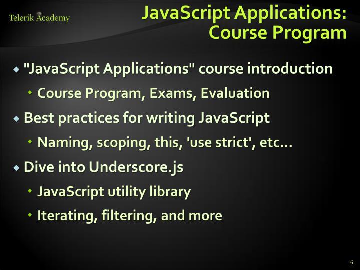 JavaScript Applications: