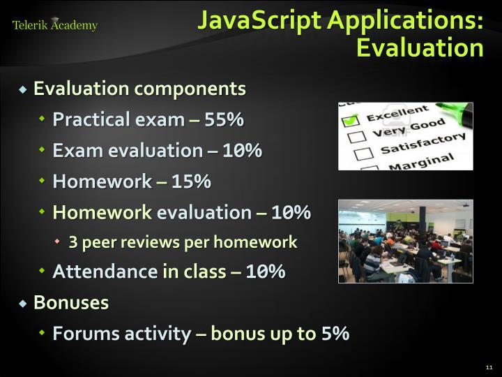 JavaScript Applications: Evaluation