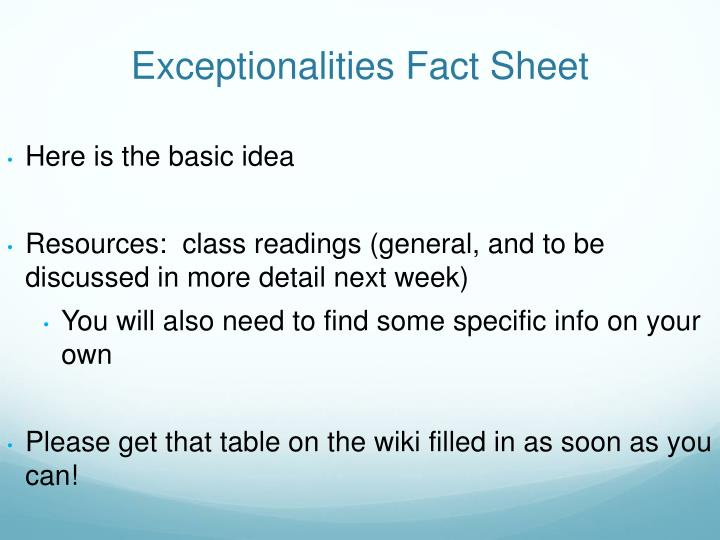 Exceptionalities Fact Sheet
