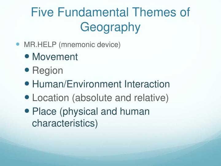 Five Fundamental Themes of Geography