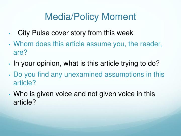 Media/Policy Moment