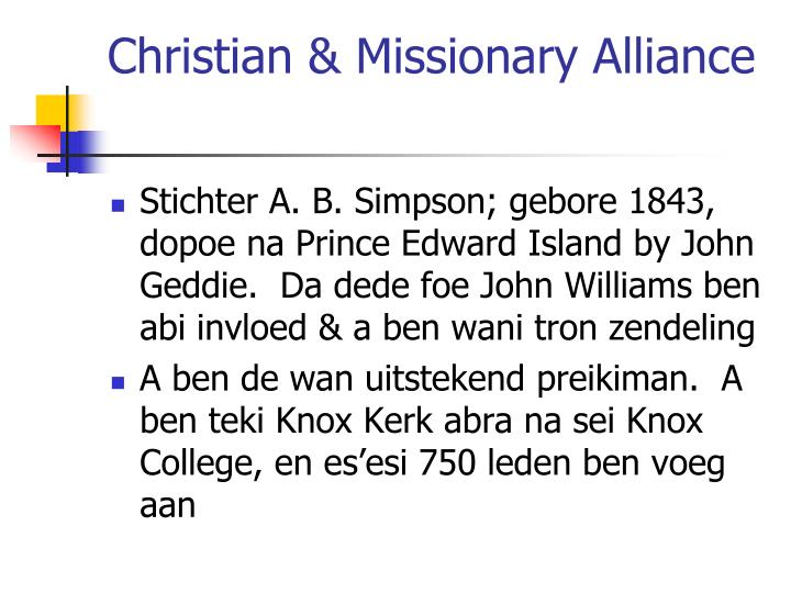 Christian & Missionary Alliance