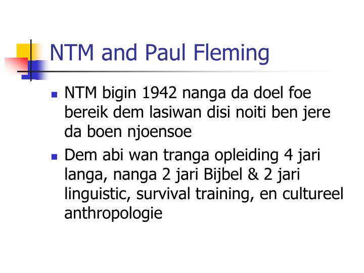 NTM and Paul Fleming