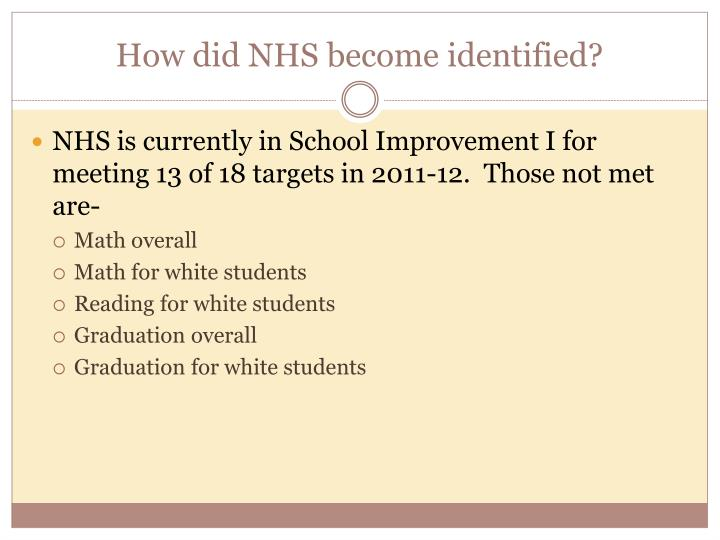 How did NHS become identified?
