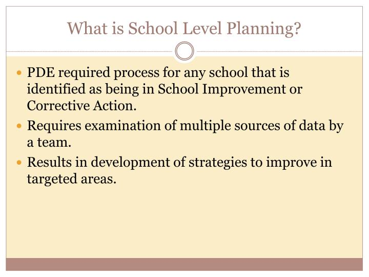 What is school level planning