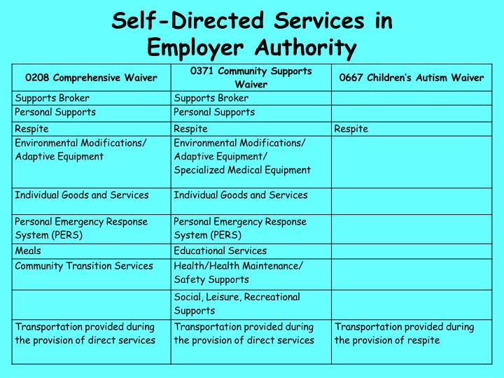 Self-Directed Services in