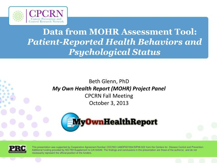 Data from MOHR Assessment Tool: