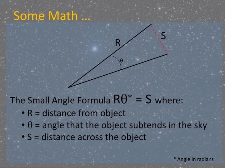 Some Math …