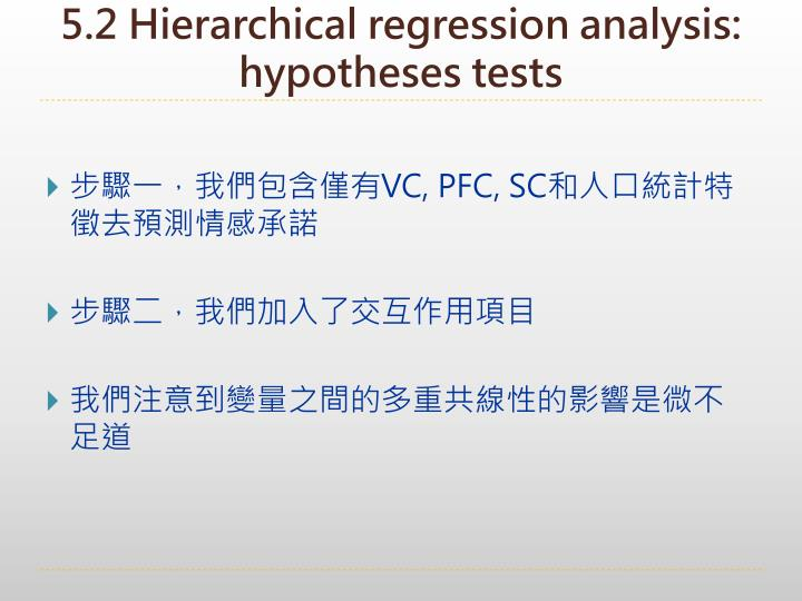 5.2 Hierarchical regression analysis: hypotheses tests