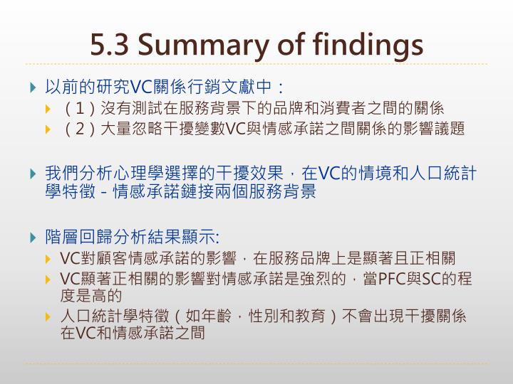 5.3 Summary of findings