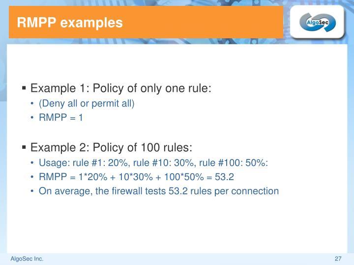 RMPP examples