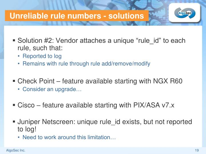 Unreliable rule numbers - solutions