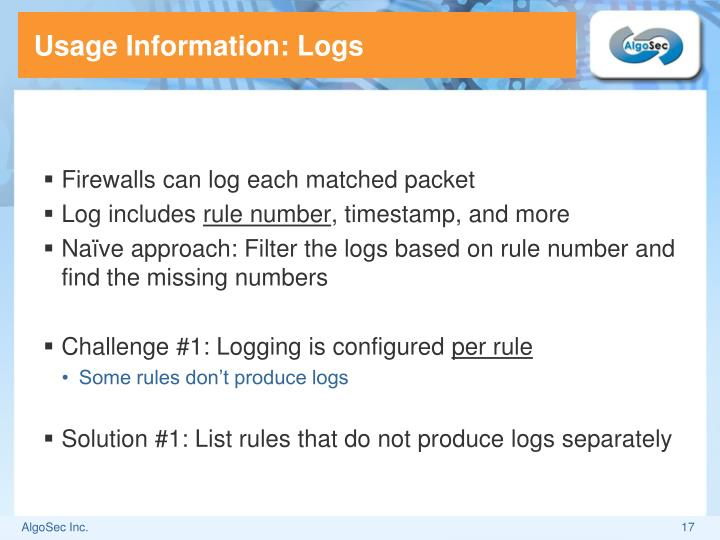 Usage Information: Logs