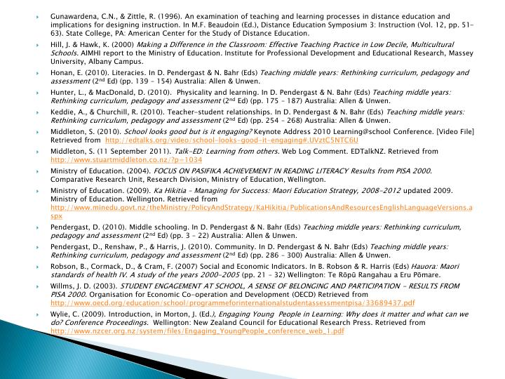 Gunawardena, C.N., & Zittle, R. (1996). An examination of teaching and learning processes in distance education and implications for designing instruction. In M.F. Beaudoin (Ed.), Distance Education Symposium 3: Instruction (Vol. 12, pp. 51-63). State College, PA: American Center for the Study of Distance Education.