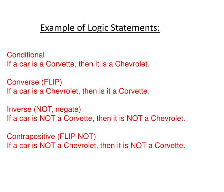 Example of Logic Statements: